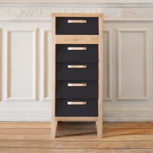 60's chest 5 drawers - black