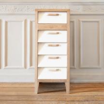 60's chest 5 drawers - cream