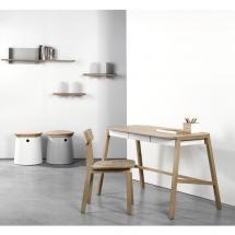 Setting Verso desk Gud chair Metal spooks Clip wall shelves Pencil holder white (1)