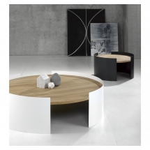 026061 Moon table large white 026068 Moon table small trafic grey